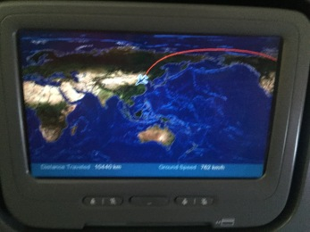 Super cool flight tracker in the headrest in front of you that also serves as your TV.