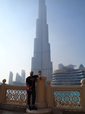 Me at the Dubai Mall in front of the Burj