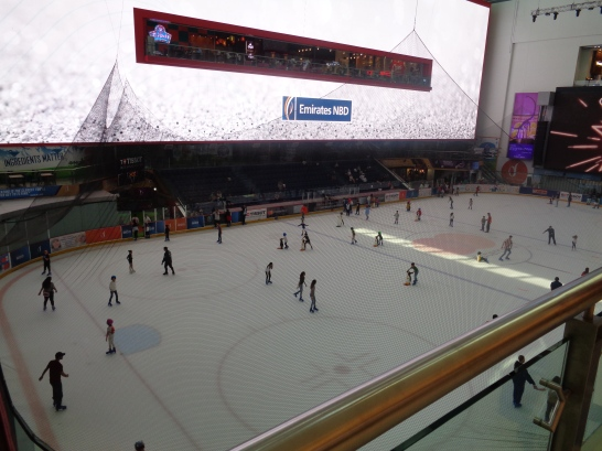 Ice rink inside the famous Dubai Mall.
