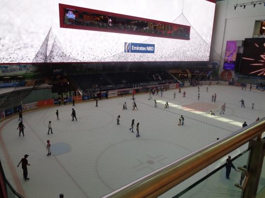 Ice rink inside the famous Dubai Mall.