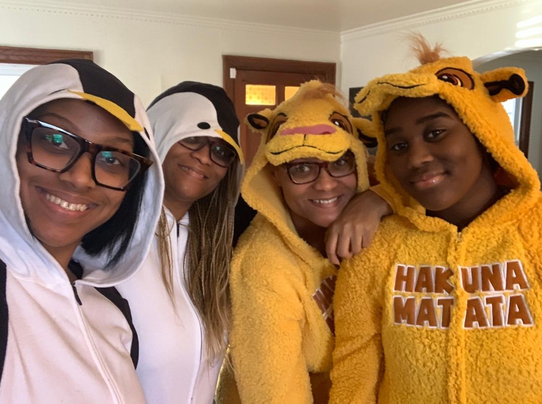 The Christmas Crew. Kayla, Kaz, Yoshi and Jayna